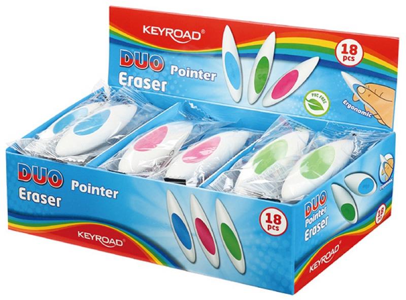 Gumka uniwersalna KEYROAD Duo-Pointer, pakowane na displayu, mix kolorow, KR971701