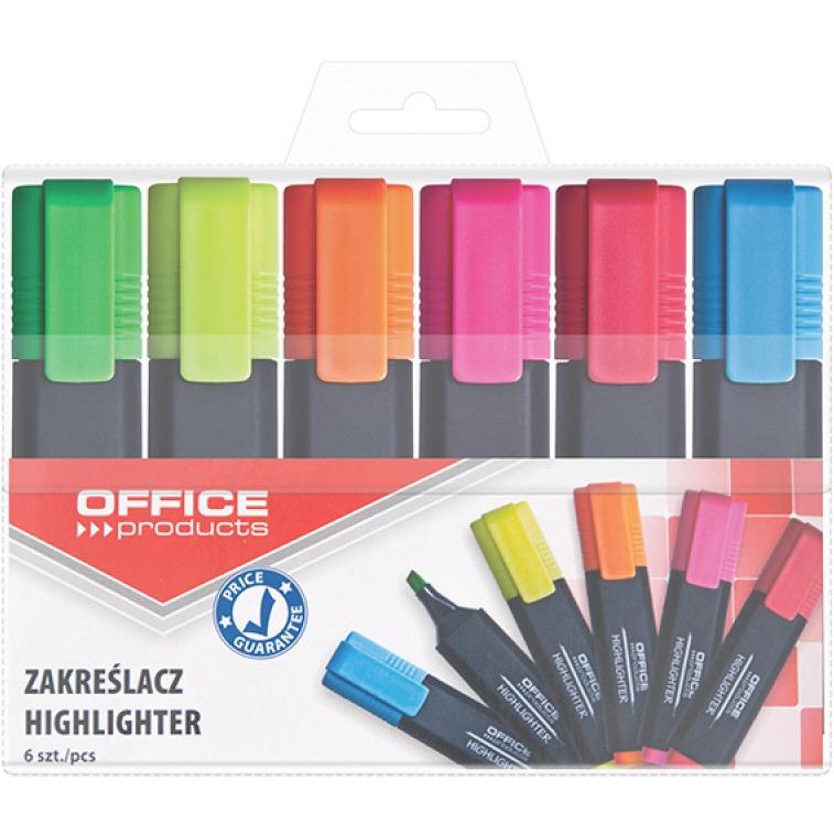 Zakreślacz fluorescencyjny OFFICE PRODUCTS, 1-5mm (linia), 6szt., mix kolorów, 17055219-99