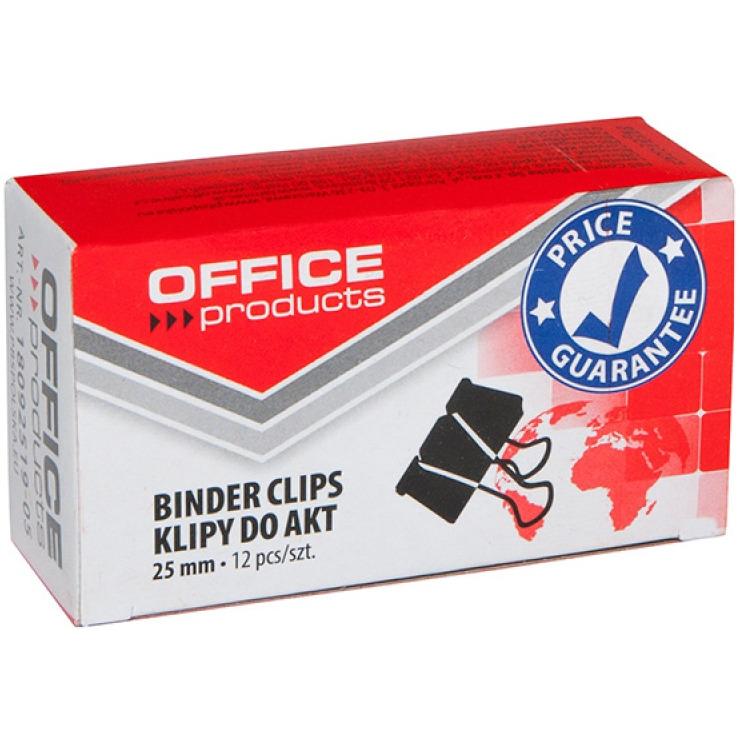 Klipy do dokumentów OFFICE PRODUCTS, 25mm, 12szt., czarne, 18092519-05