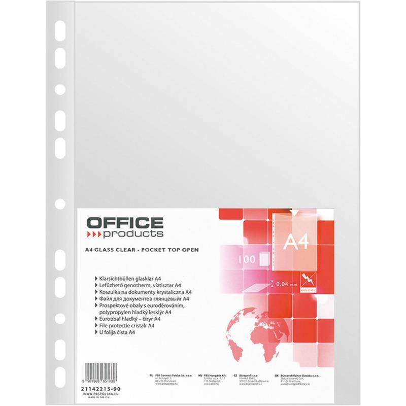 Koszulki na dokumenty OFFICE PRODUCTS, PP, A4, krystal, 40mikr., 100szt., 21142215-90