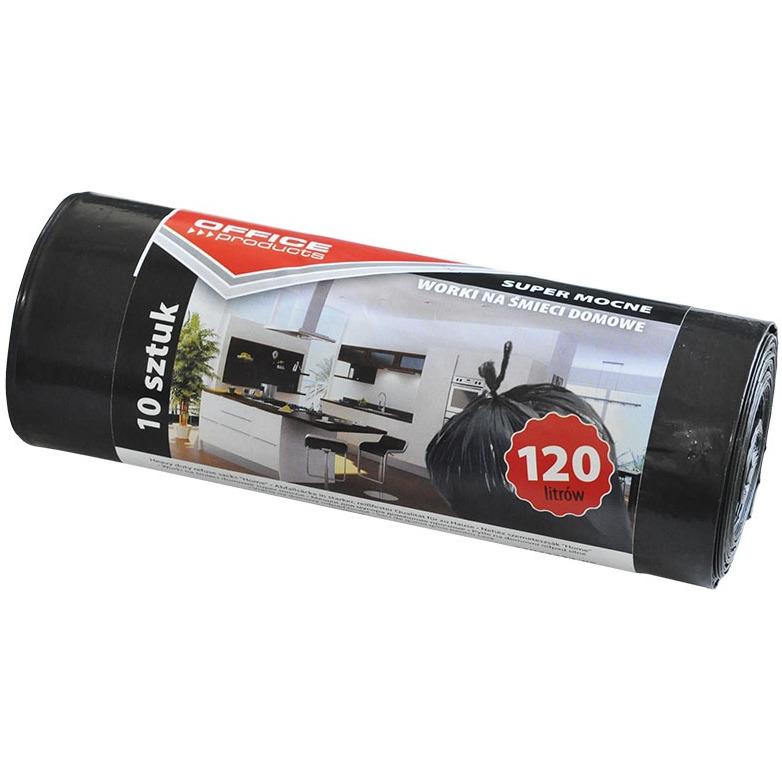 Worki na śmieci domowe OFFICE PRODUCTS, super mocne (LDPE), 120l, 10szt., czarne, 22022232-05