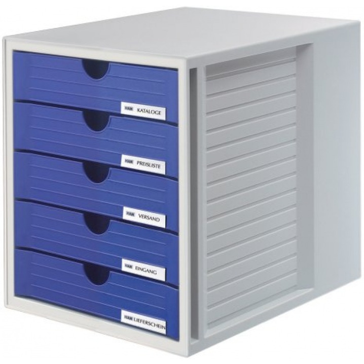 Zestaw 5 szufladek HAN System-Box, polistyren, A4, szaro-niebieski, HN145014-10