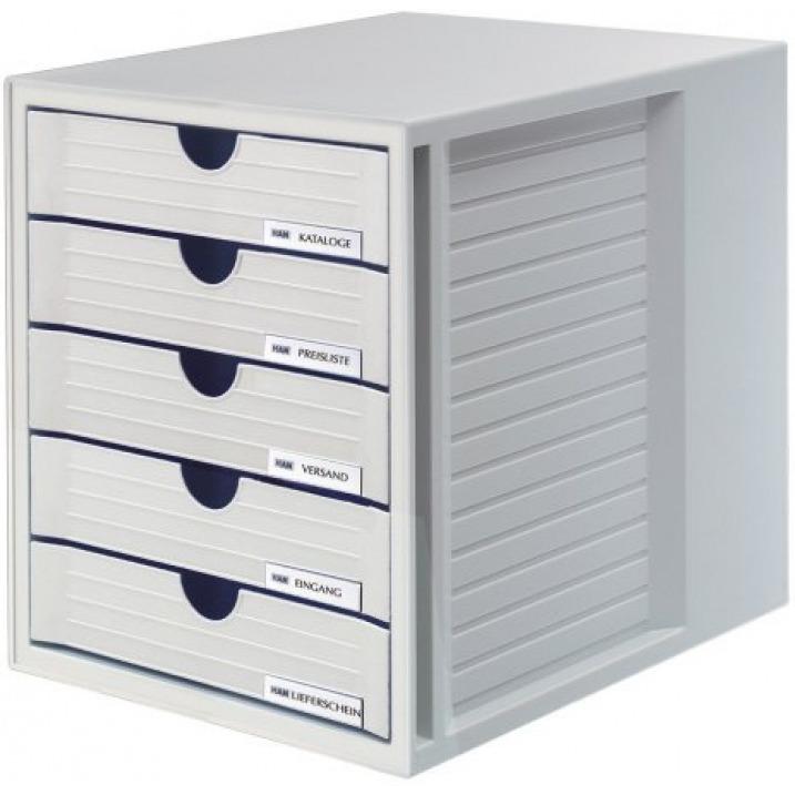 Zestaw 5 szufladek HAN System-Box, polistyren, A4, szary, HN145011-13