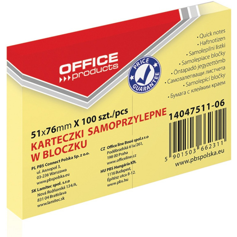 Bloczek samoprzylepny OFFICE PRODUCTS, 51x76mm, 1x100 kart., pastel, jasnożółty, 14047511-06