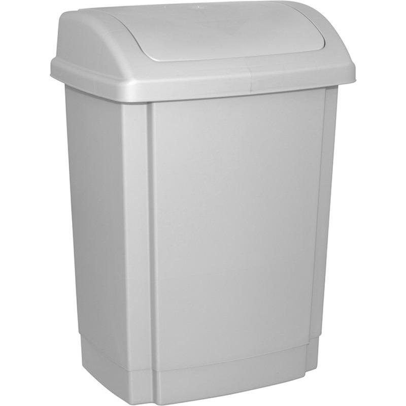 Kosz na śmieci z pokrywą OFFICE PRODUCTS, tworzywo, 25l, szary, 19012311-10