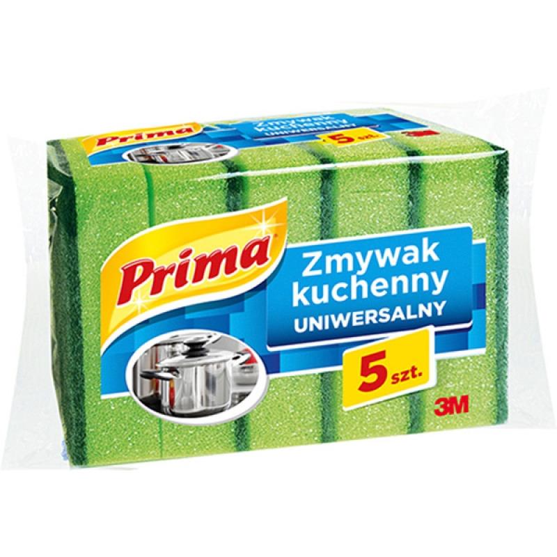 Gąbka do zmywania PRIMA, uniwersalna, 5szt., zielona, 3M-UU001560273