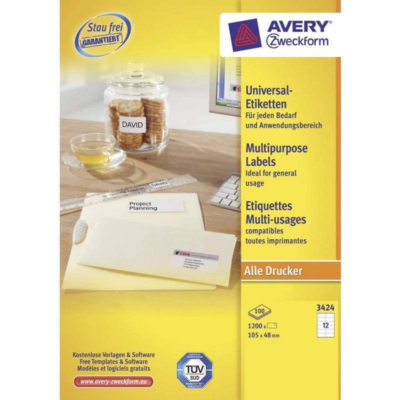 Etykiety uniwersalne Avery Zweckform, 105 x 48, ETK1140