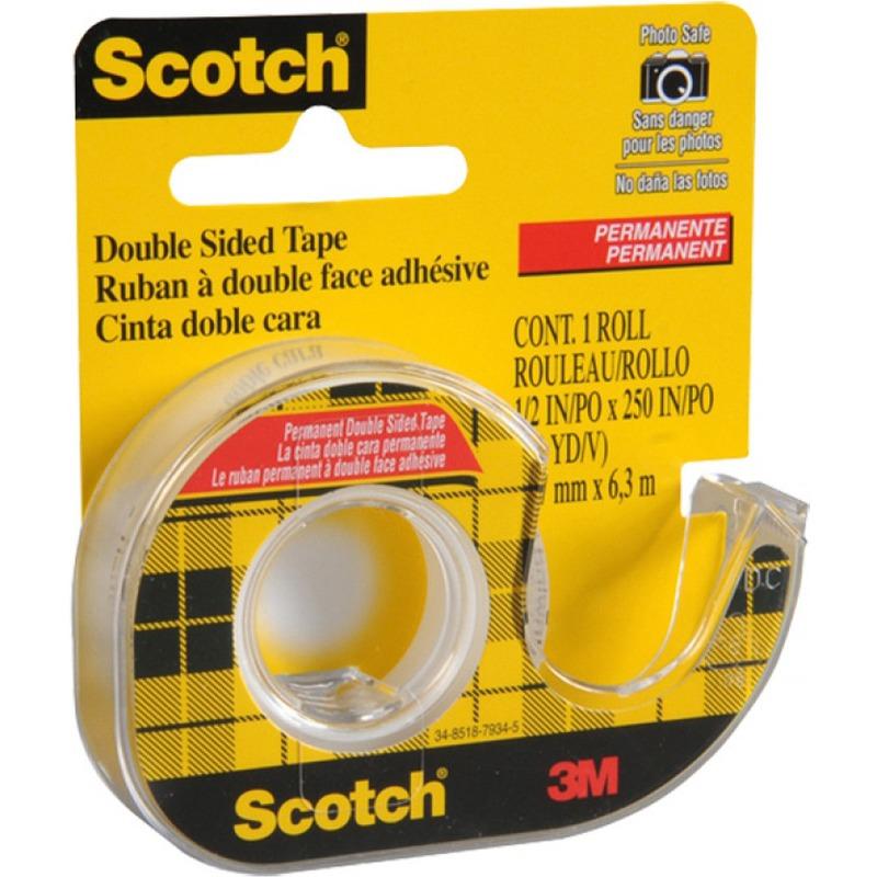 Taśma Scotch dwustronnie klejąca, 12 mm x 6 / 3 m / przezroczysta, TAK0410