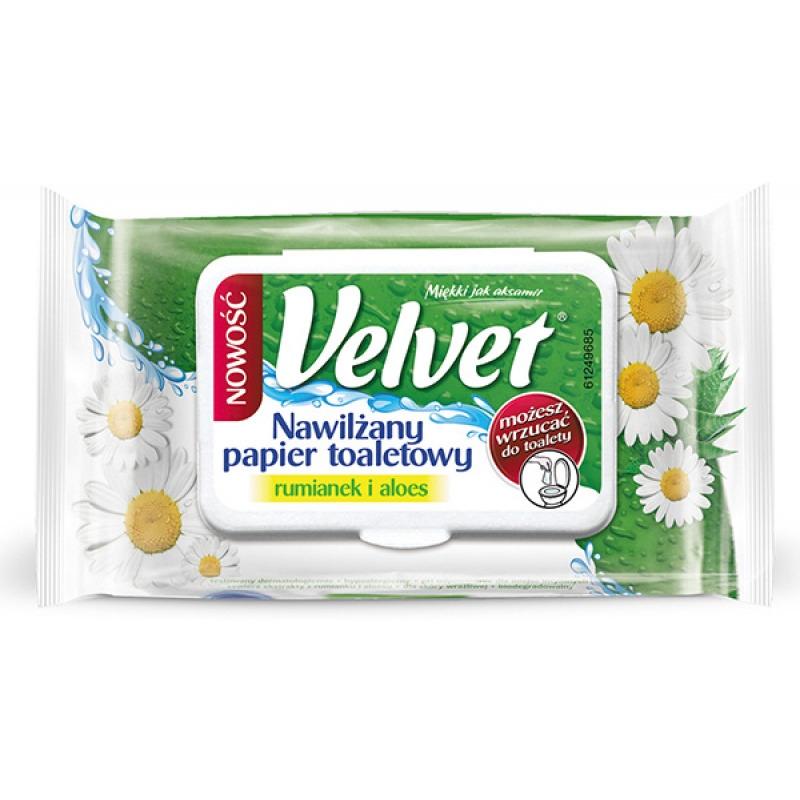 Papier toaletowy celulozowy VELVET Rum&Aloe, nawilżany, 42 listki, biały, VLK-4500008