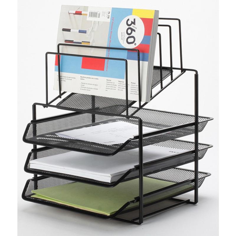 Zestaw na biurko Q-CONNECT Office Set, metalowy, z sorterem dokumentów, 3 szufladki, czarny, KF17296