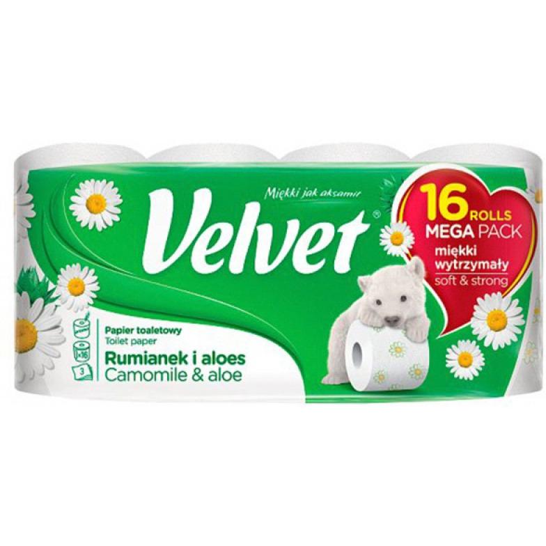 Papier Toaletowy celulozowy VELVET Rumianek i Aloes, 3-warstwowy, 16szt., biały, VLK-8998651