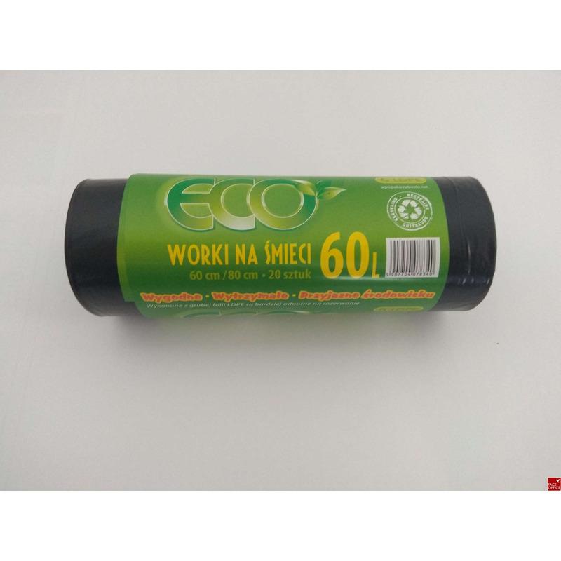 Worki na smieci czarne 60L 20szt/op.  LDPE, WO 0134115