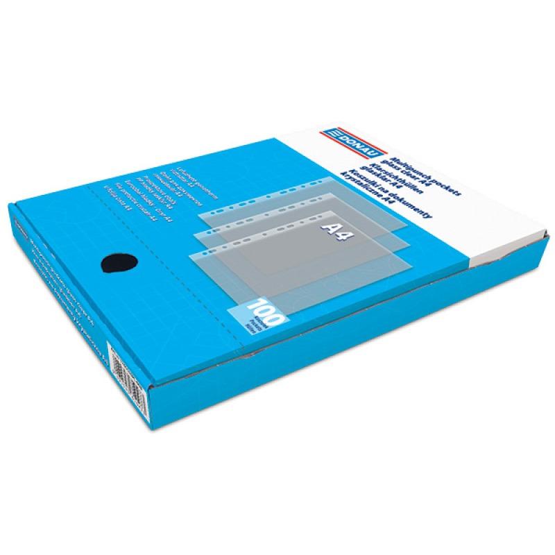Koszulki na dokumenty DONAU, PP, A4, krystal, 45mikr., 100szt., w pudełku, 1765100PL-00B