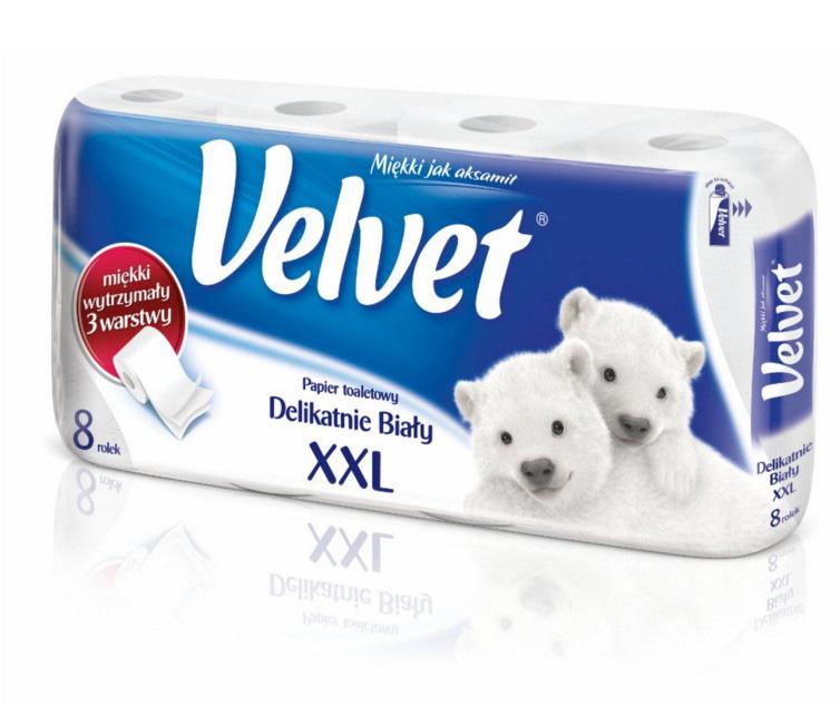 Papier toal.VELVET (8) biały, PAK0080