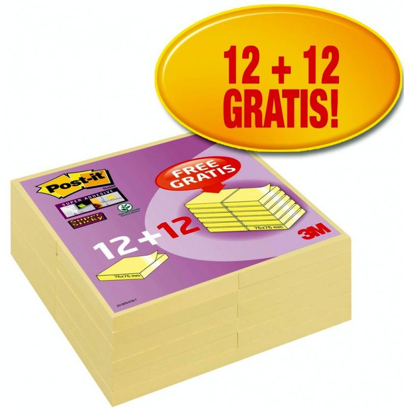 Bloczek samoprzylepny POST-IT® Super Sticky (654SSCYP12+12), 76x76mm, 12+12x90 kart., żółty, 3M-UU001601150