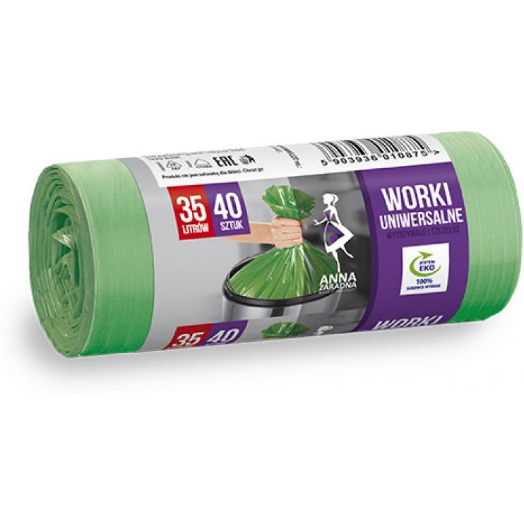 Worki na śmieci uniwersalne ANNA ZARADNA, 35 l, 40 szt., zielone, ST-AZ-010875