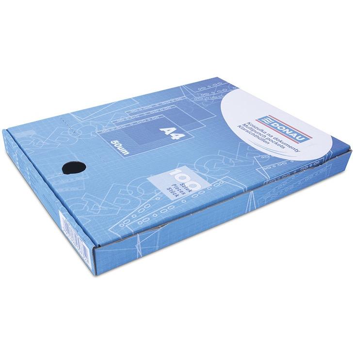 Koszulki na dokumenty DONAU, PP, A4, krystal, 50mikr., 100szt., w pudełku, 1772100PL-00B