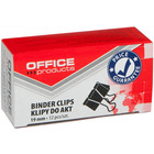 Klipy do dokumentów OFFICE PRODUCTS, 19mm, 12szt., czarne
