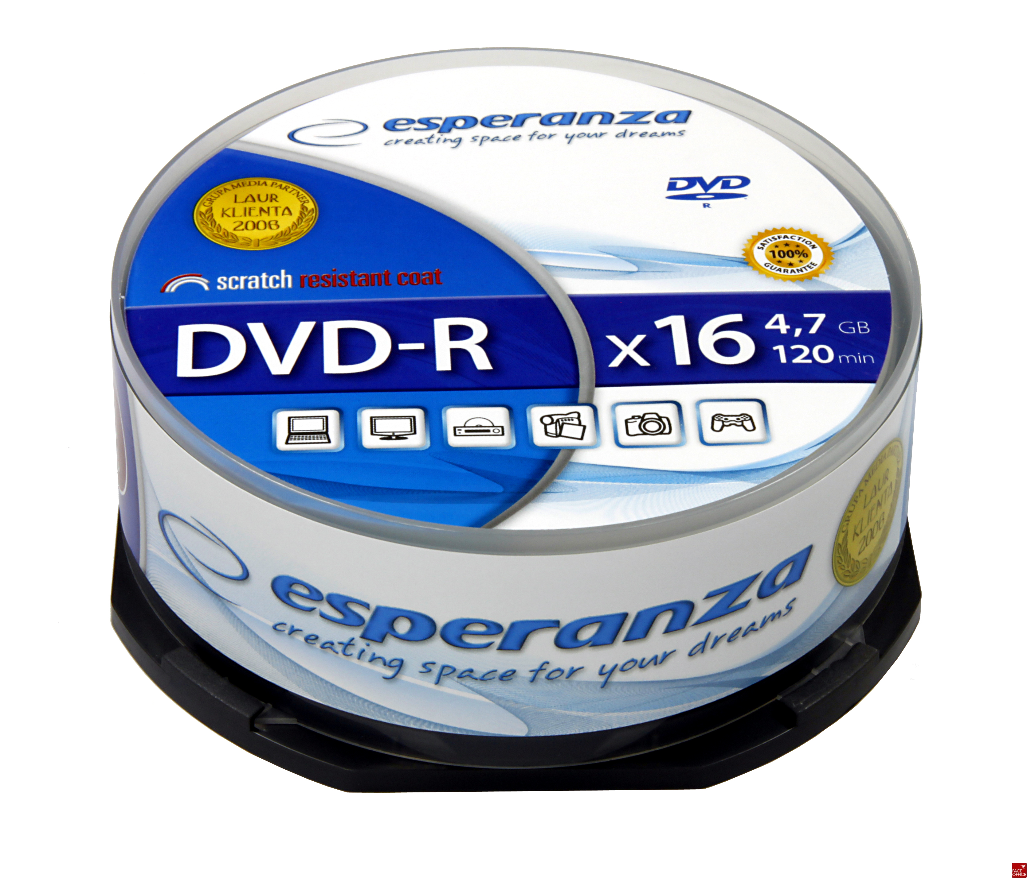 DVD+R ESPERANZA 4, 7GB x16 - Cake Box 25 1116